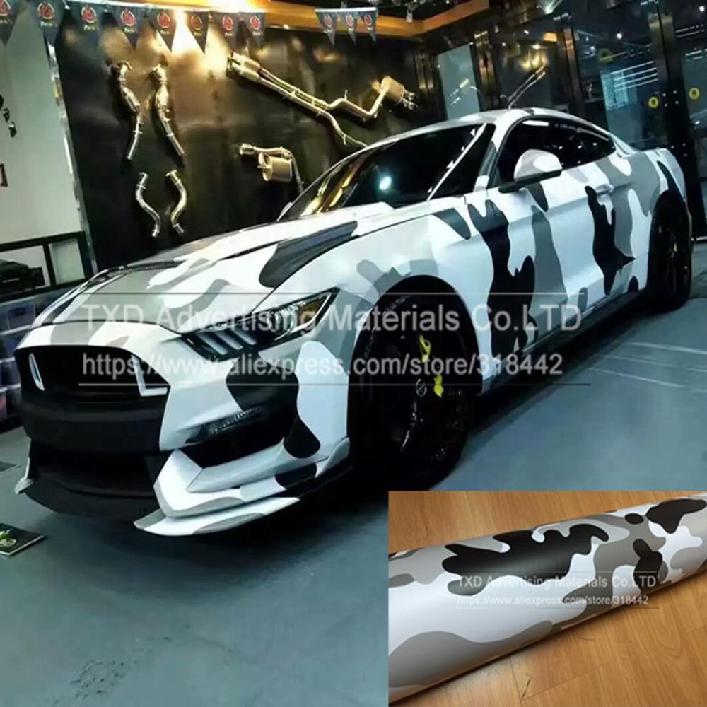Premium Quality Camo Sticker Bomb Vinyl Wrap Black Grey White Snow Camouflage Vinyl Bubble Free For SUV TRUCK Jeep Wraps