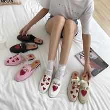 MOLAN Brand Designers 2019 New Luxury Pearl Metal Chain Embroider Red Heart Lady Leather Slides Slip On Loafers Mules Flip Flops
