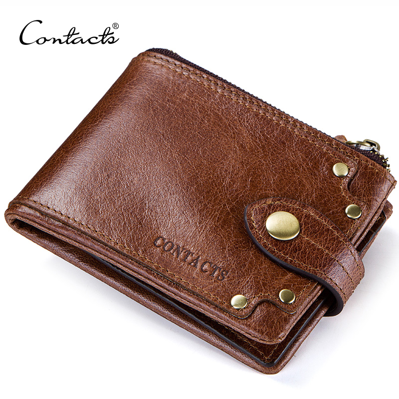 CONTACT'S genuine leather wallet for men card holder men's short wallet casual purse small walet carteira masculina mens cuzdan