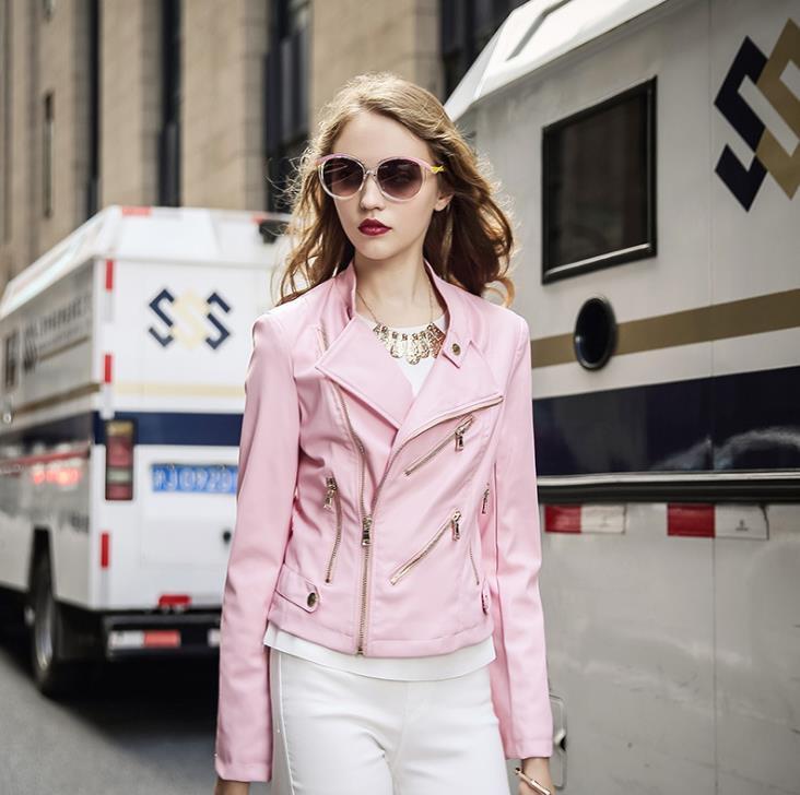 2017 New Autumn Fashion Street Womens Short Washed PU Leather Jacket Zipper New Ladies Basic Jackets 51963