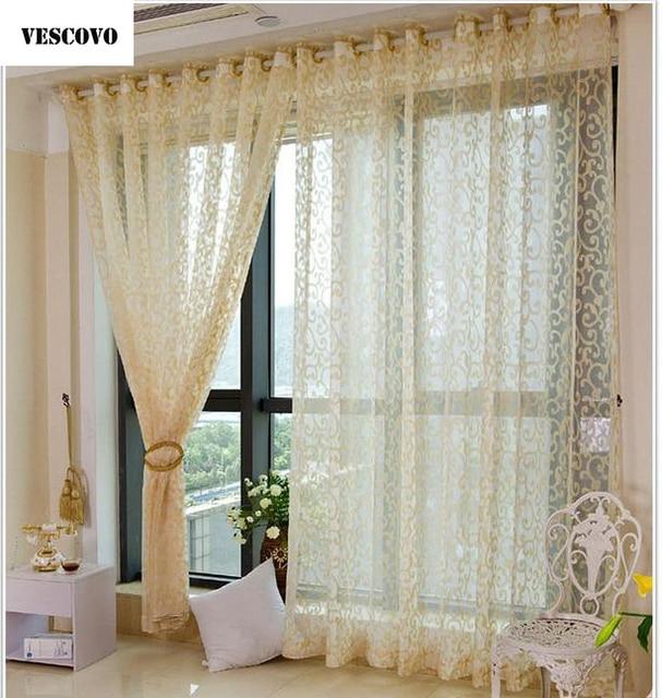 Vescovo Golden Tulle Curtains For Living Room European Window Sheer Bedroom Kitchen Voile