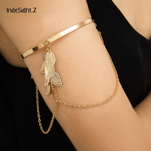 IngeSight.Z Charm Gold Color Multi Layered Leaves Tassel Bracelets Bangles Punk Simple Upper Arm Cuff Bracelet for Women Jewelry square faux gemstone double layered cuff bracelet