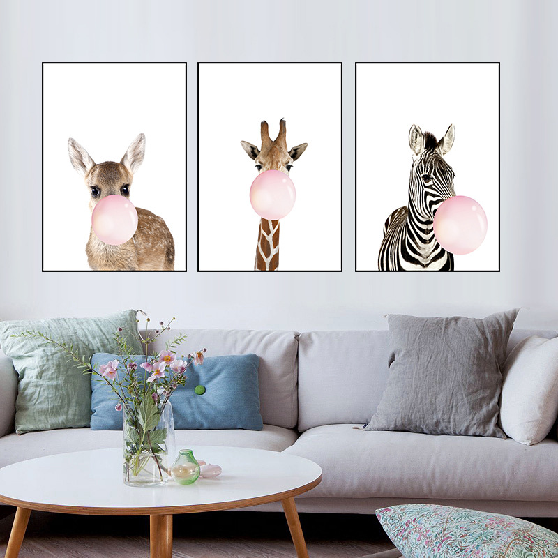 Africa Jungle Animal Giraffe Zebra With Bubbles Posters Canvas Painting Wall Picture For Kids Room Decoration