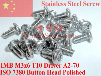 Stainless Steel screws M3x6  Torx T10 Driver Button Head  ISO 7380 A2-70 Polished ROHS 100 pcs