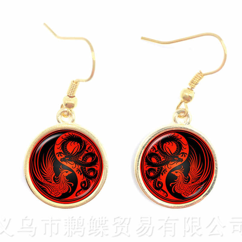 New Classic Tai Chi Yin Yang Drop Earrings Round Glass Art Black White Design Ethnic Earrings For Women Gift Jewelry