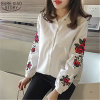 2017 New Spring Student Korean Style Shirt Print Flower Embroidered Blouse Female Lapel Tunic Tide Striped