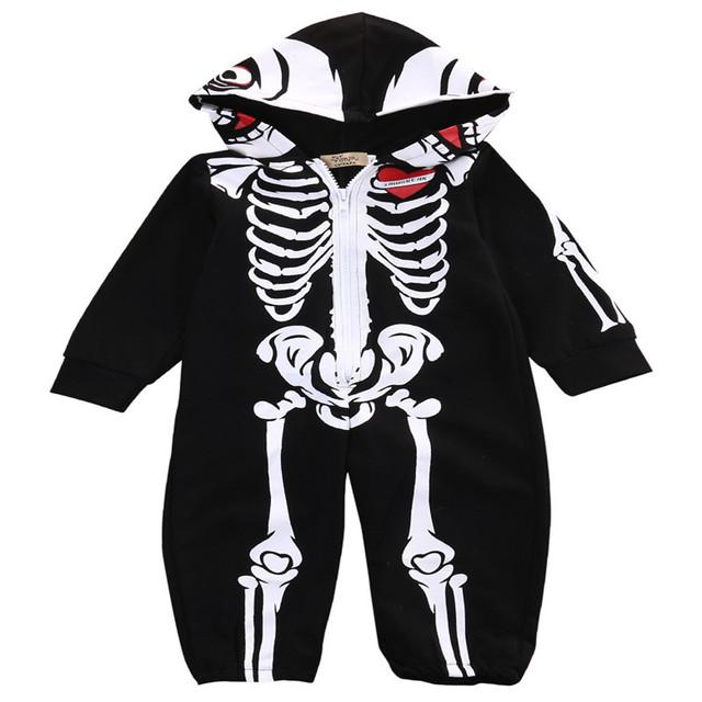 Halloween New Arrival Esqueleto Pijama Kawaii Preto Anime Cosplay Romper Do Bebê Roupas Das Meninas Dos Meninos Do Crânio Moletom Com Capuz H579