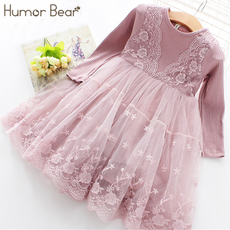 Humor Bear Girls Dress 2018 Casual Long Sleeves lace Mesh Kids Dresses For Girl Autumn Clothing Princess Party Dress spring winter girls dress 2018 casual long sleeves lace mesh patchwork kids dresses for girl new year clothing princess dress