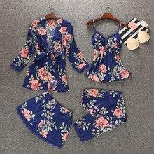 Ночной халат, весенний женский комплект одежды для сна из 4 предметов, топ на бретелях, штаны, костюм, повседневные пижамы, сексуальная ночная рубашка, кимоно, банное платье, M, L, XL