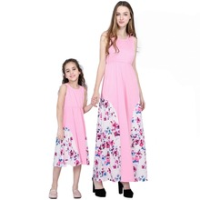 2019 New Fashion Matching Family Outfits Summer Sleeveless Mother Daughter Floral Dress Clothes Long Dresses