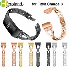 Watch strap Genuine Luxury alloy For Fitbit Charge 3 Wristbands Replacement Steel Smart Band Strap Bracelet Crystal Metal