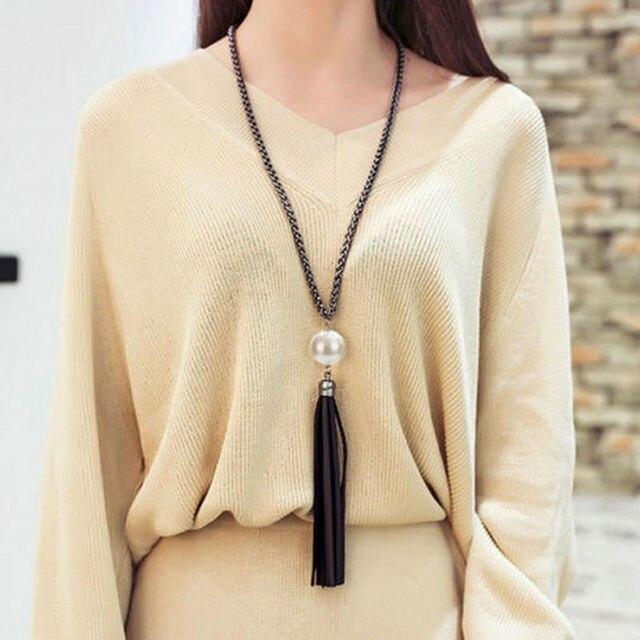 2016 новинка шарм имитация перлы бусины кожаные кисточки большой длинная цепь ожерелья свитера ювелирные женщина P1367