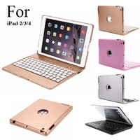 Luxury For IPad 2 3 4 Case Keyboard Metal Stand Bluetooth ABS Cover For IPad 2
