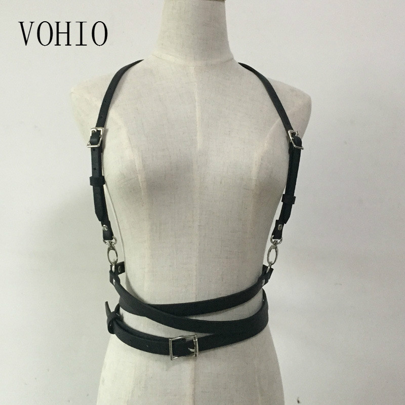 VOHIO Belts for Women Leather Street Snap Fashionable Nightclub Punk Wind PU Binding Suspender Belts Ladies Ceinture H Disfraz