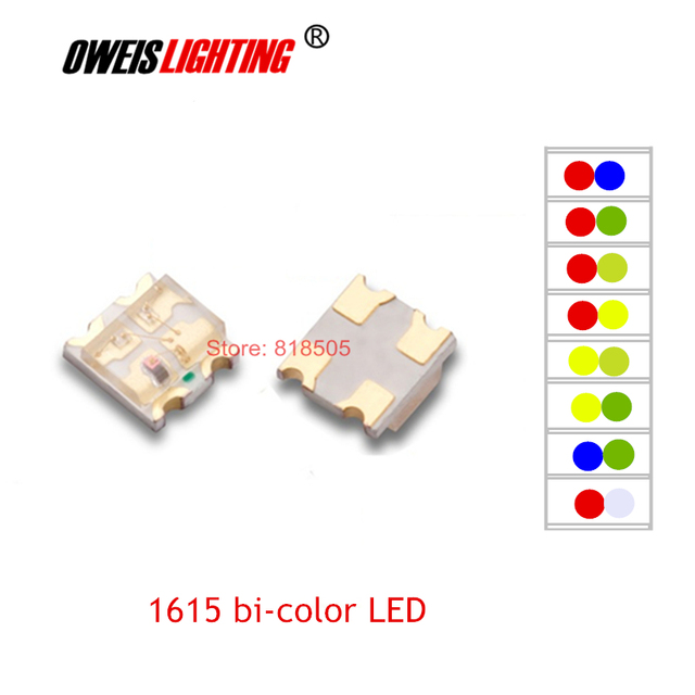 US $2 05 7% OFF|50PCS 0805 SMD LED 1615 bicolor LEDs 2 colors Red+GREEN /  R+BLUE / R+YELLOW / R+YELLOWGREEN / R+WHITE-in Light Beads from Lights &