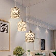 1X estilo europeo blanco Metal Floral hueco pantalla mesa de techo de moda colgante cortina de luz cubierta hogar comedor Decoración