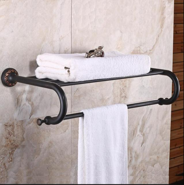 New Arrival Black Oil Brushed Towel Rack Bathroom Towel Shelf Bathroom  Accessories Luxury Bath Towel Holder