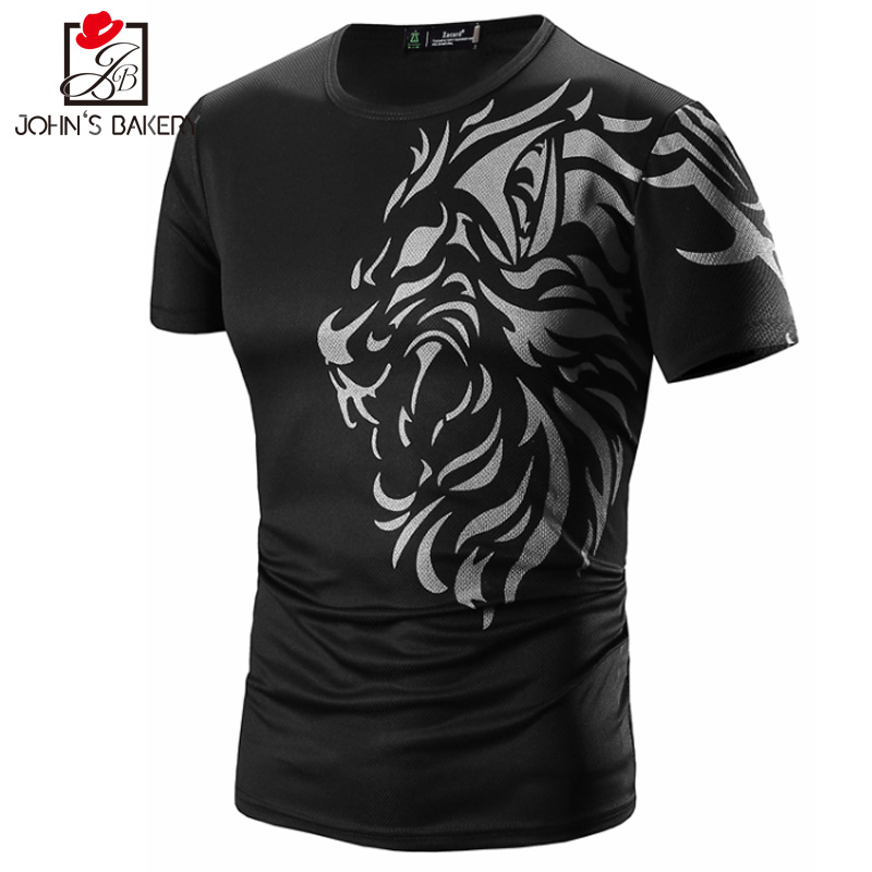 T Shirt Men 2017 Brand Short Sleeve Hip Hop Male T-Shirts Mens Tattoo Printing Casual Mens Funny Tshirt Slim Tee Tops 3XL