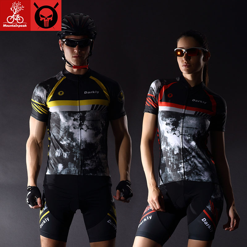 Mountainpeak 2017 New Cycling Jersey suit with short sleeves Cycling wear pants and shorts for men and women Sun cycling set slimming printed collarless short sleeves for men