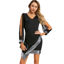 Winter Dress  Sequined Chiffon Party Elegant V Neck Knee-Length