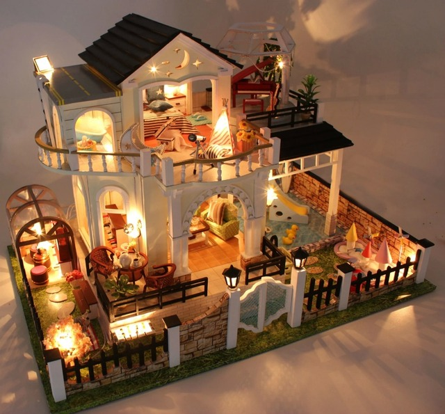 Attractive Perfect Hour Large DIY Wood Doll House Euro Style 3D Miniature  Lights+Furnitures Building Model