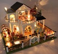 Perfeito Hour grande DIY casa de boneca de madeira Euro estilo 3D luzes em miniatura + móveis modelo de construção casa e decoração loja brinquedo adulto