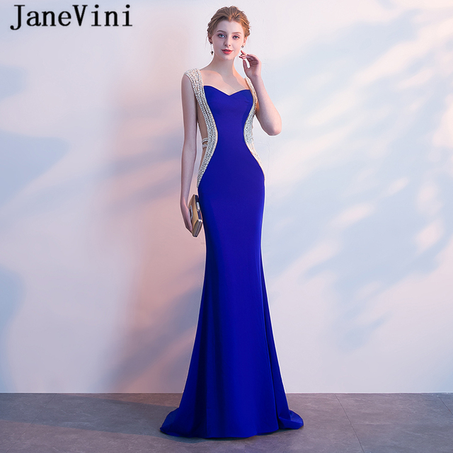 JaneVini Luxurious Pearls Crystal Mermaid Long Bridesmaid Dresses  Sweetheart Satin Floor Length Royal Blue Prom Dress 9f24d1bc9a8c