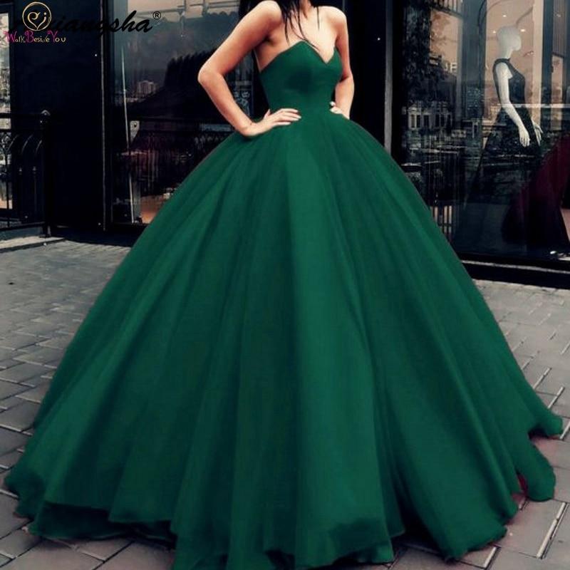 2019 nouveau Hunter vert Quinceanera robes à lacets sans bretelles étage longueur robe de bal formelle fête cérémonie Graduation longues robes