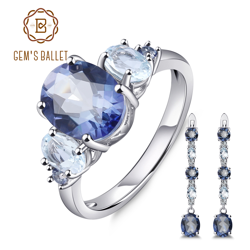 GEM S BALLET Natural Iolite Mystic Quartz Sky Blue Topaz Gemstone Jewelry Set 925 Sterling Silver