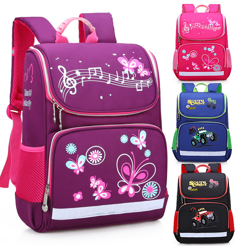 2019 New Children School Bags Girls Butterfly School Backpack Kids Satchel Boy Car Knapsack Girl Backpack For School Space Bag(China)