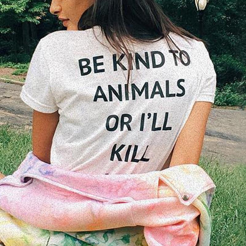 New Letter Printed Be Kind To Animals T shirts Summer Casual Women Cotton T-Shirts Harajuku Girls BF Tee Female Tops Clothing