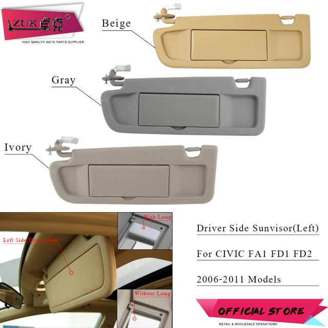 ZUK Car Left Driver Side Sunvisor Sunshade Sun Shield Antidazzle Visor For HONDA  CIVIC FA1 FD1 FD2 2006 2007 2008 2009 2010 2011 36f8e957e98