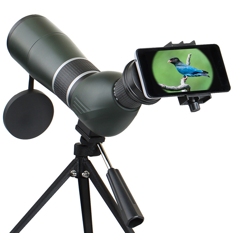 12-36X 50A / 15-45X 60A Zoom Monocular Telescope Lens Bird Watching HD Optic Phone Camera Lens View Eyepiece + Adjustable Tripod