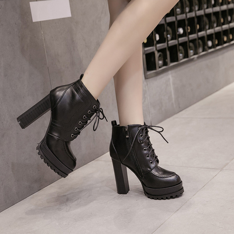 Marque Pour Femmes D'hiver Moto Black Pointu Up Boussac Conception Sexy Chaussures Cheville Hauts À Swe0280 Lace Talons Bout Bottes x1FFqX