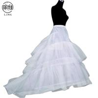 New Bride White Petticoat Trailing Skirt Long Tulle Women Petticoat 3 Layers Wedding Accessories Jupon Cerceau