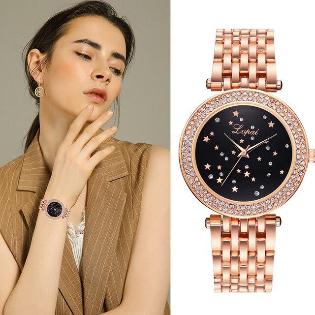 Lvpai Women Watches Stainless Steel Luxury Ladies Dress Wristwatch Creative Rhin