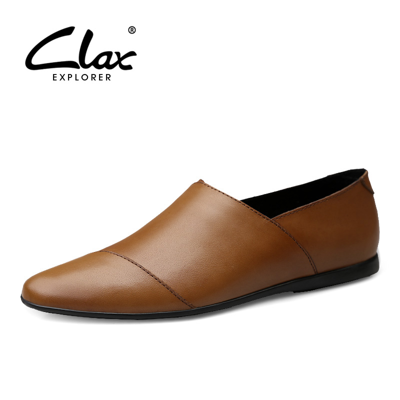 CLAX Men s Shoes Leather 2019 Summer Casual Shoe Male Loafers Genuine Leather Mans Loafers Flats