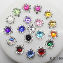 NEW 10Pcs/Lot 14MM Round Acrylic Rhinestones Decorative Buttons Mix-Colour Diy Girl Hair Ribbon Wedding Decoration Accessory