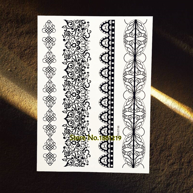 Henna Lace Bracelet Temporary Tattoo Sticker: Fake Black Henna Temporary Tattoo Bracelet Jewelry Paste