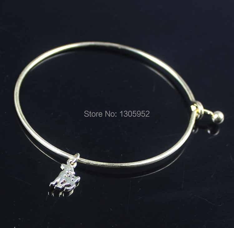 ▻Fashion silver plated Women girl Bangle with Deer pendant Bracelet ... 9d90b65b8f5c