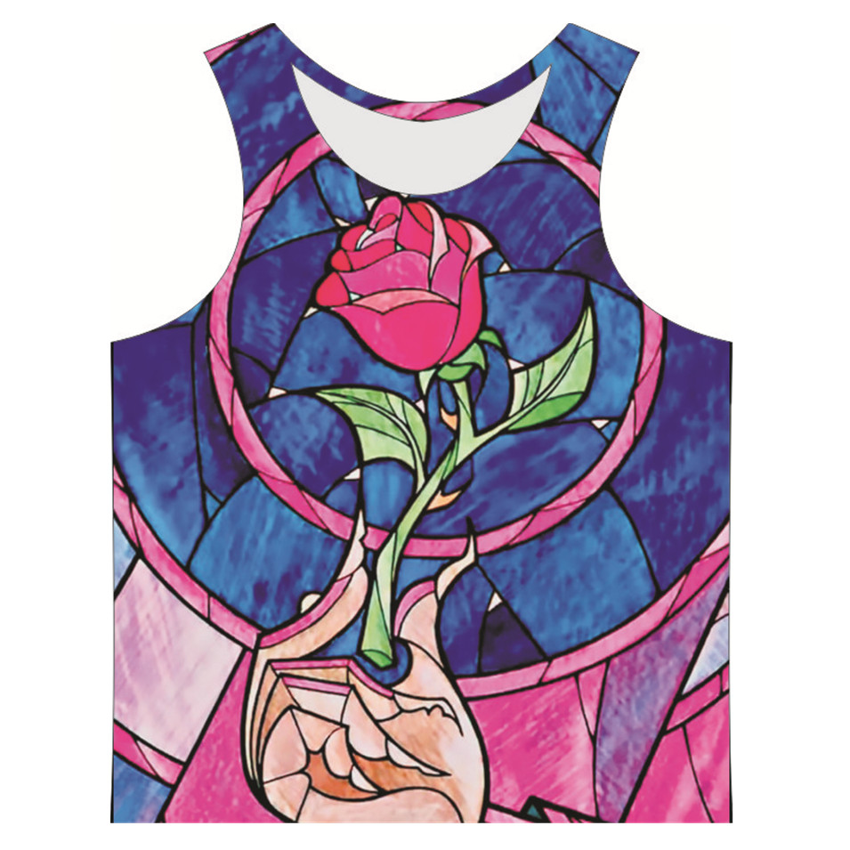 2017 New Fashion Men Plus Size 6XL Tops Summer Sleeveless Basic Vest Graphic Cartoon Flowers Printed Man Tank Top Vintage Vest