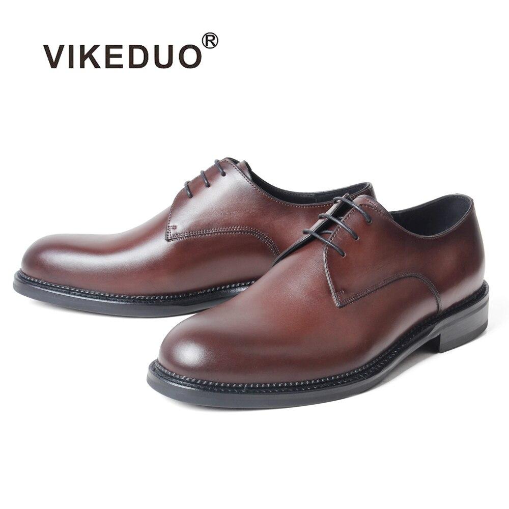 Homens Mans Zapatos Dos Sapatos Vikeduo Hombre Escritório Handmade Couro Brown Marrom De Formal Patina Calçado Rodada Casamento Casuais Vestido Red xO1Cwqgt