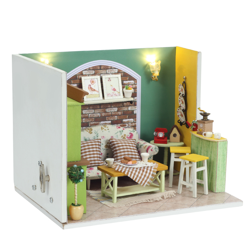 Elegant DIY Doll House Miniature With Furnitures LED 3D Wooden Dollhouse Handmade Building Model Gift Green Island Tea Q002 #D