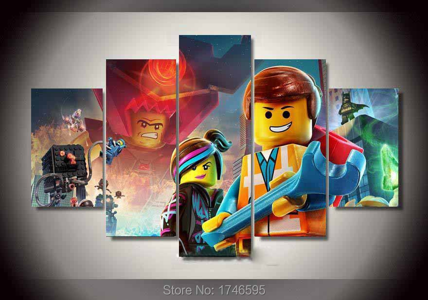 5pcs kids room decor the lego movie Wall Art Picture modern home decorative  printed oil Painting. Popular Lego Room Decor Buy Cheap Lego Room Decor lots from China