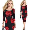 Женская Осень-Весна Элегантный Урожай Ретро Повседневные Вечерние Карандаш Оболочка Bodycon Dress