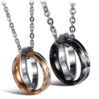 New Stainless Steel Couples Crystal Necklaces Pendants For Women Men Couple Love Forever Statement Necklace Girlfriend