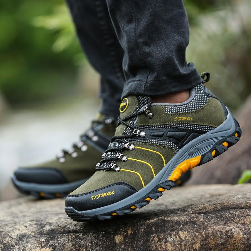 Man Hiking Shoes Spring Autumn Rock Climbing Shoes Yellow Green Mens Mountain Sneakers Comfortable Outdoor Sneakers Men