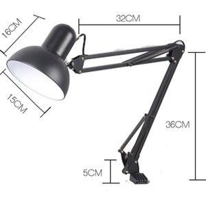 Image 2 - Flexible Swing Arm Clamp Mount Desk Lamp Black Table Light Reading Lamp for Home Office Studio Study 110V 240V for Home Room