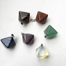 лучшая цена Assorted Natural Stone Pyramid Pendants Pendulum Crystal Fluorite Opalite Charming Jewelry Making Chakra Healing Reiki Beads