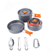 Hiking Camping Cookware Mess Kit Backpacking Gear Outdoors B